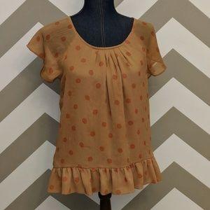 Gap Women's Short Sleeve Polka Dot Ruffle Hem Top